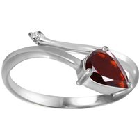 Garnet and Diamond Top and Tail Ring in 9ct White Gold