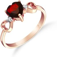 Garnet and Diamond Trinity Ring in 18ct Rose Gold
