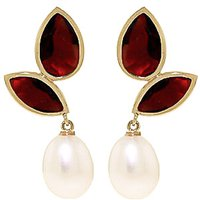 Garnet and Pearl Petal Drop Earrings in 9ct Gold