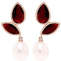 Garnet and Pearl Petal Drop Earrings in 9ct Rose Gold