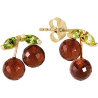 Garnet and Peridot Cherry Drop Stud Earrings in 9ct Gold