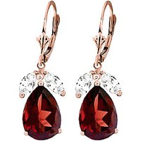 Garnet and White Topaz Drop Earrings in 9ct Rose Gold