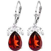 Garnet and White Topaz Drop Earrings in 9ct White Gold
