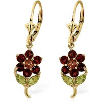 Garnet, Citrine & Peridot Flower Petal Drop Earrings in 9ct Gold - Flower Gifts