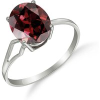 Garnet Claw Set Ring 2.2 ct in 9ct White Gold - White Gold Gifts