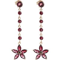 Garnet Daisy Chain Drop Earrings 4.8 ctw in 9ct Rose Gold