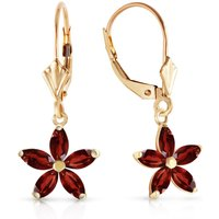 Garnet Flower Star Drop Earrings 2.8 ctw in 9ct Gold - Flower Gifts