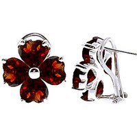 Garnet Flower Stud Earrings 6.5 ctw in 9ct White Gold