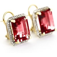Garnet French Clip Halo Earrings 15.4 ctw in 9ct Gold