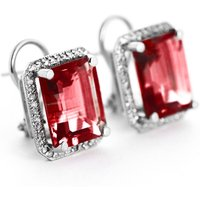 Garnet French Clip Halo Earrings 15.4 ctw in 9ct White Gold
