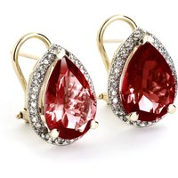 Garnet French Clip Halo Earrings 8.12 ctw in 9ct Gold