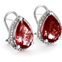 Garnet French Clip Halo Earrings 8.12 ctw in 9ct White Gold