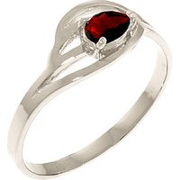 Image of Garnet Pear Strand Ring 0.3 ct in 18ct White Gold
