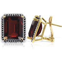 Garnet Stud French Clip Halo Earrings 15.4 ctw in 9ct Gold