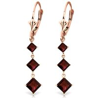 Garnet Three Stone Drop Earrings 4.79 ctw in 9ct Rose Gold
