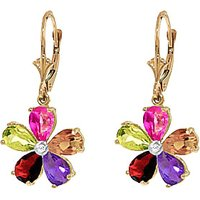 Gemstone & Diamond Flower Petal Drop Earrings in 9ct Gold - Flower Gifts