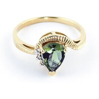 Green Amethyst & Diamond Belle Ring in 9ct Gold - Ring Gifts