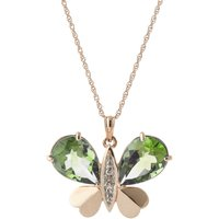 Green Amethyst & Diamond Butterfly Pendant Necklace in 9ct Rose Gold - Fashion Gifts