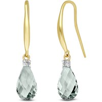 Green Amethyst & Diamond Drop Earrings in 9ct Gold - Green Gifts