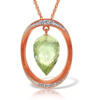 Green Amethyst & Diamond Drop Pendant Necklace in 9ct Rose Gold - Qp Jewellers Gifts