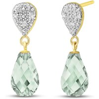 Green Amethyst & Diamond Droplet Earrings in 9ct Gold - Jewellery Gifts