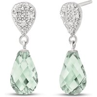 Green Amethyst & Diamond Droplet Earrings in 9ct White Gold - White Gold Gifts