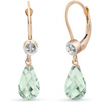 Green Amethyst & Diamond Illusion Drop Earrings in 9ct Rose Gold - Lime Green Gifts