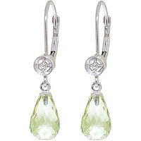 Green Amethyst & Diamond Illusion Drop Earrings in 9ct White Gold - Lime Green Gifts