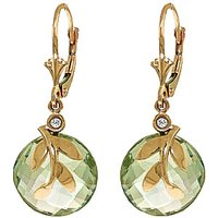 Green Amethyst & Diamond Olive Leaf Drop Earrings in 9ct Gold - Jewellery Gifts