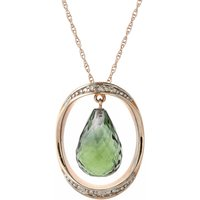 Green Amethyst & Diamond Pendant Necklace in 9ct Rose Gold - Fashion Gifts