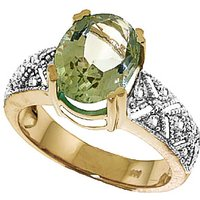 Green Amethyst & Diamond Renaissance Ring in 9ct Gold - Ring Gifts