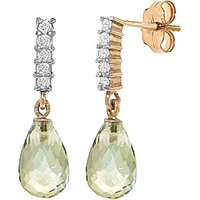 Green Amethyst & Diamond Stem Droplet Earrings in 9ct Gold - Jewellery Gifts