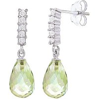 Green Amethyst & Diamond Stem Droplet Earrings in 9ct White Gold - White Gold Gifts