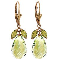 Green Amethyst & Peridot Snowdrop Earrings in 9ct Gold - Jewellery Gifts