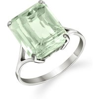 Green Amethyst Auroral Ring 6.5 ct in 9ct White Gold