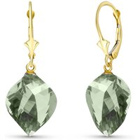 Green Amethyst Briolette Drop Earrings 26 ctw in 9ct Gold