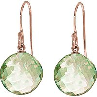 Green Amethyst Chequer Drop Earrings 12 ctw in 9ct Rose Gold