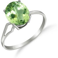 Green Amethyst Claw Set Ring 2.2 ct in 9ct White Gold - Fashion Gifts