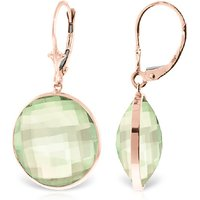 Green Amethyst Drop Earrings 36 ctw in 9ct Rose Gold