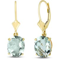 Green Amethyst Drop Earrings 6.25 ctw in 9ct Gold - Jewellery Gifts
