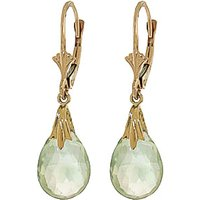 Green Amethyst Droplet Earrings 6 ctw in 9ct Gold - Jewellery Gifts