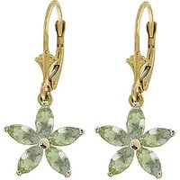 Green Amethyst Flower Star Drop Earrings 2.8 ctw in 9ct Gold - Flower Gifts