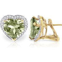 Green Amethyst French Clip Earrings 6.48 ctw in 9ct Gold