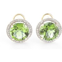 Green Amethyst French Clip Halo Earrings 10.4 ctw in 9ct Gold