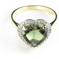 Green Amethyst Halo Ring 3.24 ctw in 9ct Gold