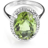 Image of Green Amethyst Halo Ring 5.28 ctw in 9ct White Gold