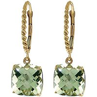 Green Amethyst Rococo Twist Drop Earrings 7.2 ctw in 9ct Gold - Cushion Gifts