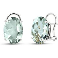 Green Amethyst Stud Earrings 15.1 ctw in 9ct White Gold