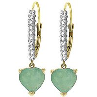 Green Diamond & Emerald Laced Drop Earrings in 9ct Gold - Love Gifts