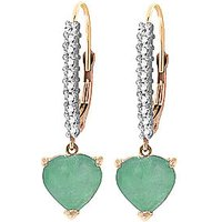 Green Diamond & Emerald Laced Drop Earrings in 9ct Rose Gold - Love Gifts